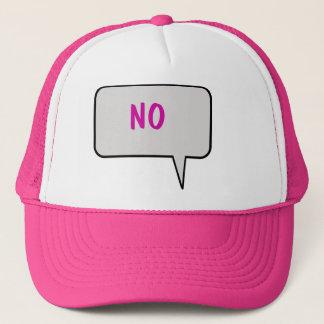"""""""いいえ""""帽子を言うスピーチの泡 キャップ"""