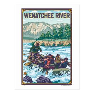 いかだで運ぶ白濁水- Wenatcheeの川、Washingto ポストカード