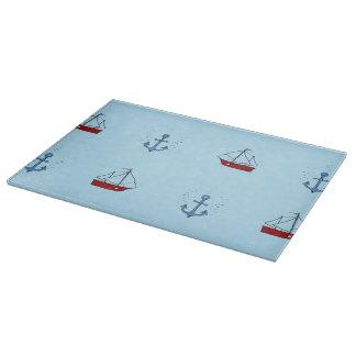 いかりおよびボートのガラスまな板 カッティングボード