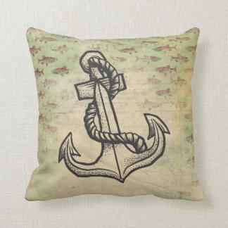 いかりおよび魚のテーマのぼろぼろシックな枕 クッション