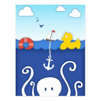 いかりが付いている愛らしい海洋生物の航海のな郵便はがき ポストカード