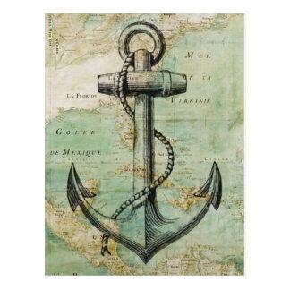 いかりが付いている旧式で航海のな地図 ポストカード