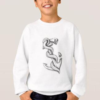 いかりの入れ墨でカールしているAsclepiusのヘビ スウェットシャツ