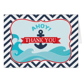 いかりの海洋波のシェブロンの航海のな赤は感謝していしています カード