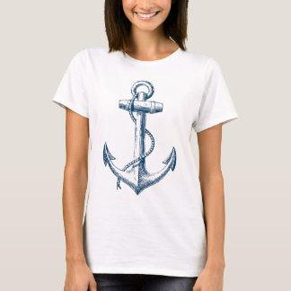いかりの航海ので写実的なTシャツのティーの青い白 Tシャツ