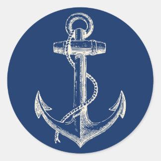 いかりの航海のなステッカーの装飾の濃紺の白 ラウンドシール