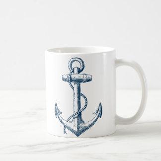 いかりの航海のなマグのギフトの濃紺の白 コーヒーマグカップ