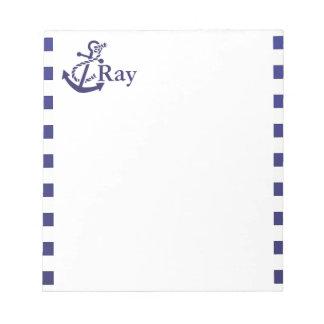 いかりの航海のなモノグラムの名前 ノートパッド