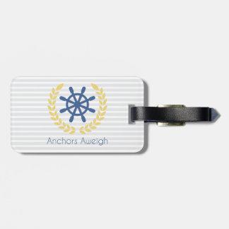いかりのAweigh航海のな船の車輪は縞で飾ります ラゲッジタグ