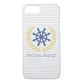 いかりのAweigh航海のな船の車輪は縞で飾ります iPhone 8/7ケース