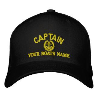 いかりを持つ名前入りな航行の大尉 刺繍入りキャップ
