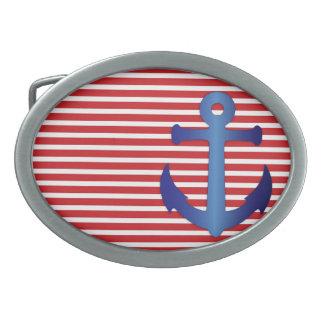 いかり粋で航海のでストライプなパターン米国海軍 卵形バックル