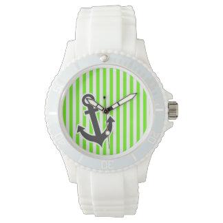 いかり; 若草色縞で飾ります; ストライプの 腕時計