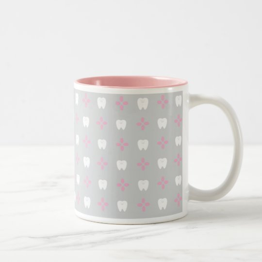 【いくんぐ堂】歯グッズマグカップグレーピンク ツートーンマグカップ