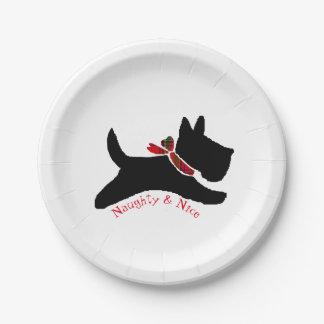 いけない及びニースのスコッチテリア犬 ペーパープレート