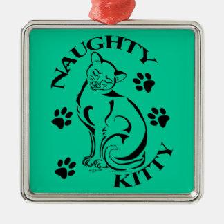 いけない子猫の正方形の優れたオーナメント メタルオーナメント