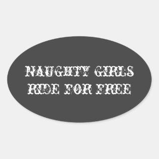 いけない|女の子|乗車|自由|ヘルメット|ステッカー 卵形シール・ステッカー