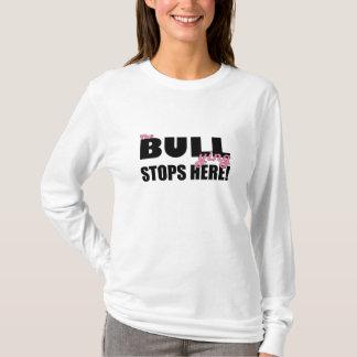 いじめることはピンクの長袖のワイシャツをここにストップ Tシャツ