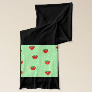 いちごおよび水玉模様の真新しい緑 スカーフ