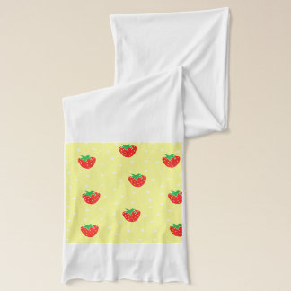 いちごおよび水玉模様の黄色 スカーフ