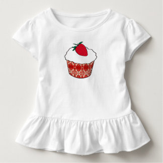 いちごが付いているバニラカップケーキ トドラーTシャツ