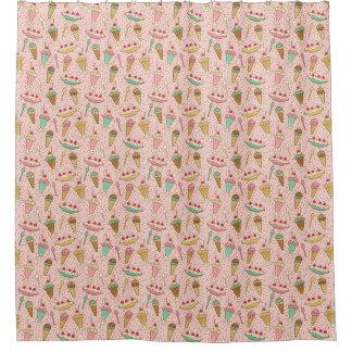 いちごのアイスクリームのシャワー・カーテン シャワーカーテン