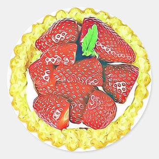 いちごのショートケーキのデザートのステッカー ラウンドシール