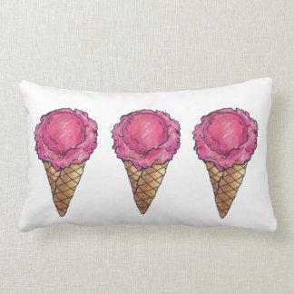 いちごのスコップのアイスクリームのワッフルの円錐形の食糧枕 ランバークッション