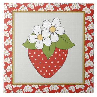 いちごのフルーツの台所またはレストランのタイル 正方形タイル大