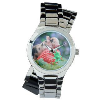 いちごのブタ 腕時計