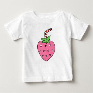 いちごのミルクのベビーのワイシャツ、かわいいベビーのワイシャツ ベビーTシャツ