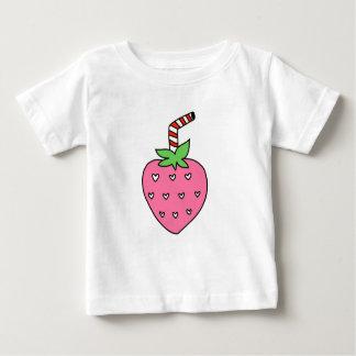 いちごのミルク、かわいいデザイン、落書き ベビーTシャツ