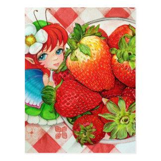 いちごの妖精のピクニック芸術のプリント ポストカード