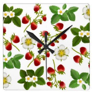 いちごの庭の芸術の柱時計 スクエア壁時計