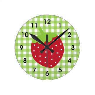 いちごの緑のギンガムの格子縞の柱時計 ラウンド壁時計