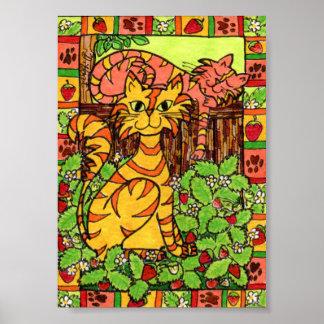 いちごパッチの小型民芸の虎猫猫 ポスター