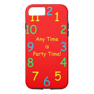 いつでも険しいですパーティーの時間カスタムで赤い時計は iPhone 8/7ケース