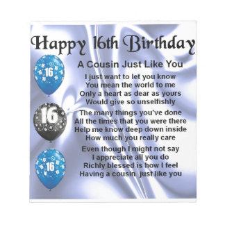いとこの詩の第16誕生日-青 ノートパッド