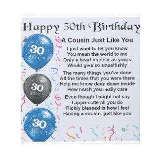 いとこの詩の第30誕生日 ノートパッド
