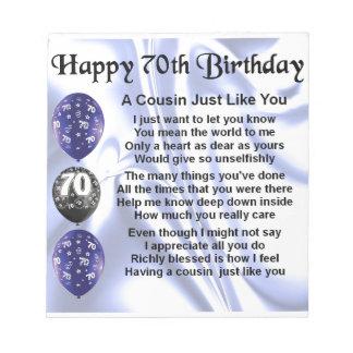 いとこの詩の第70誕生日 ノートパッド