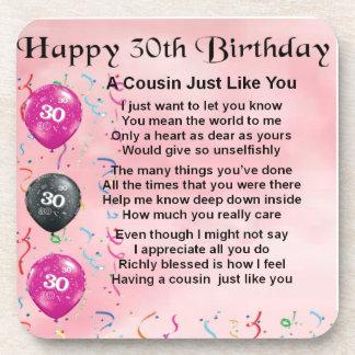 いとこの詩-ピンク-第30誕生日 コースター