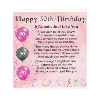 いとこの詩-ピンク-第30誕生日 ノートパッド