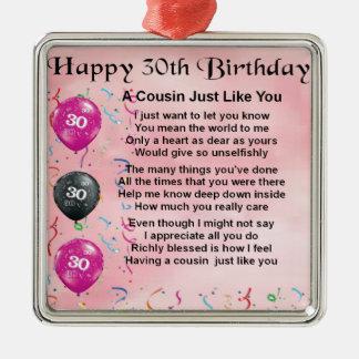 いとこの詩-ピンク-第30誕生日 メタルオーナメント
