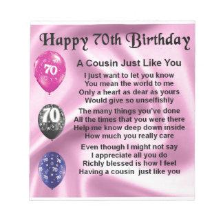いとこの詩-第70誕生日を飾って下さい ノートパッド
