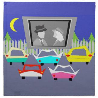 いなか町のドライブ・イン映画布のナプキン ナプキンクロス