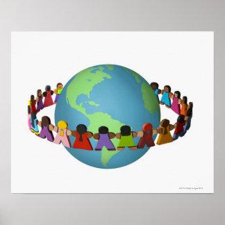 いろいろな民族性の小さい木の人形 ポスター