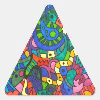 うごめく黄色いみみず 三角形シール