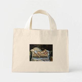 うたた寝犬のバッグ ミニトートバッグ