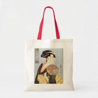 うちわを持つ女、円形ファンを持つ歌麿の女性、Utamaro トートバッグ