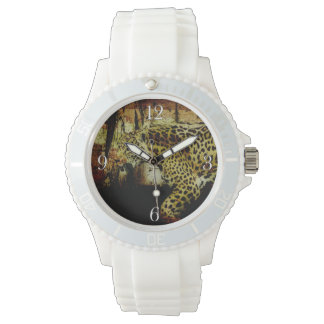 うろつく野生のジャガーはヒョウのデザインに斑点を付けました 腕時計
